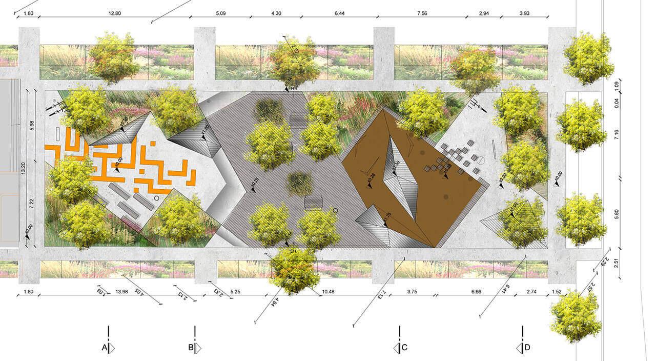 un jardin de topographie un espace ludique place normandie. Black Bedroom Furniture Sets. Home Design Ideas